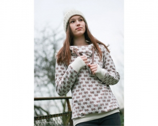 Jacquard Jersey Stoff Winter Flower by Lila-Lotta, naturweiß
